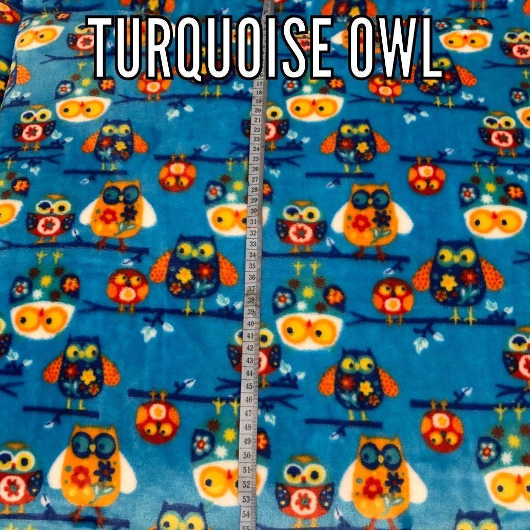 Turquoise Owl fabric
