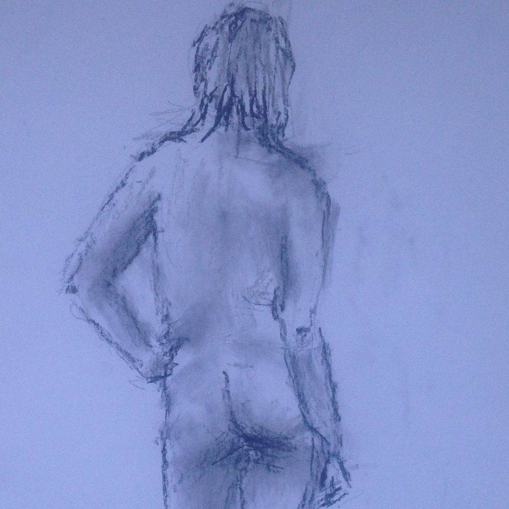 Life drawing of woman back view