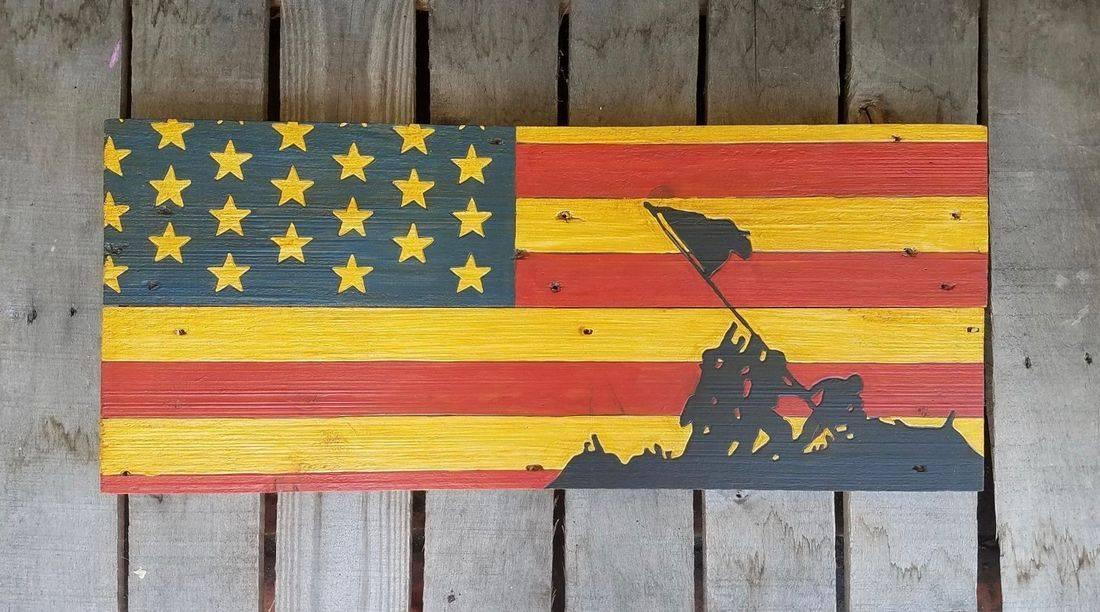 American Flag Handmade Reclaimed Pallet Wood Military Sign Iwo Jima