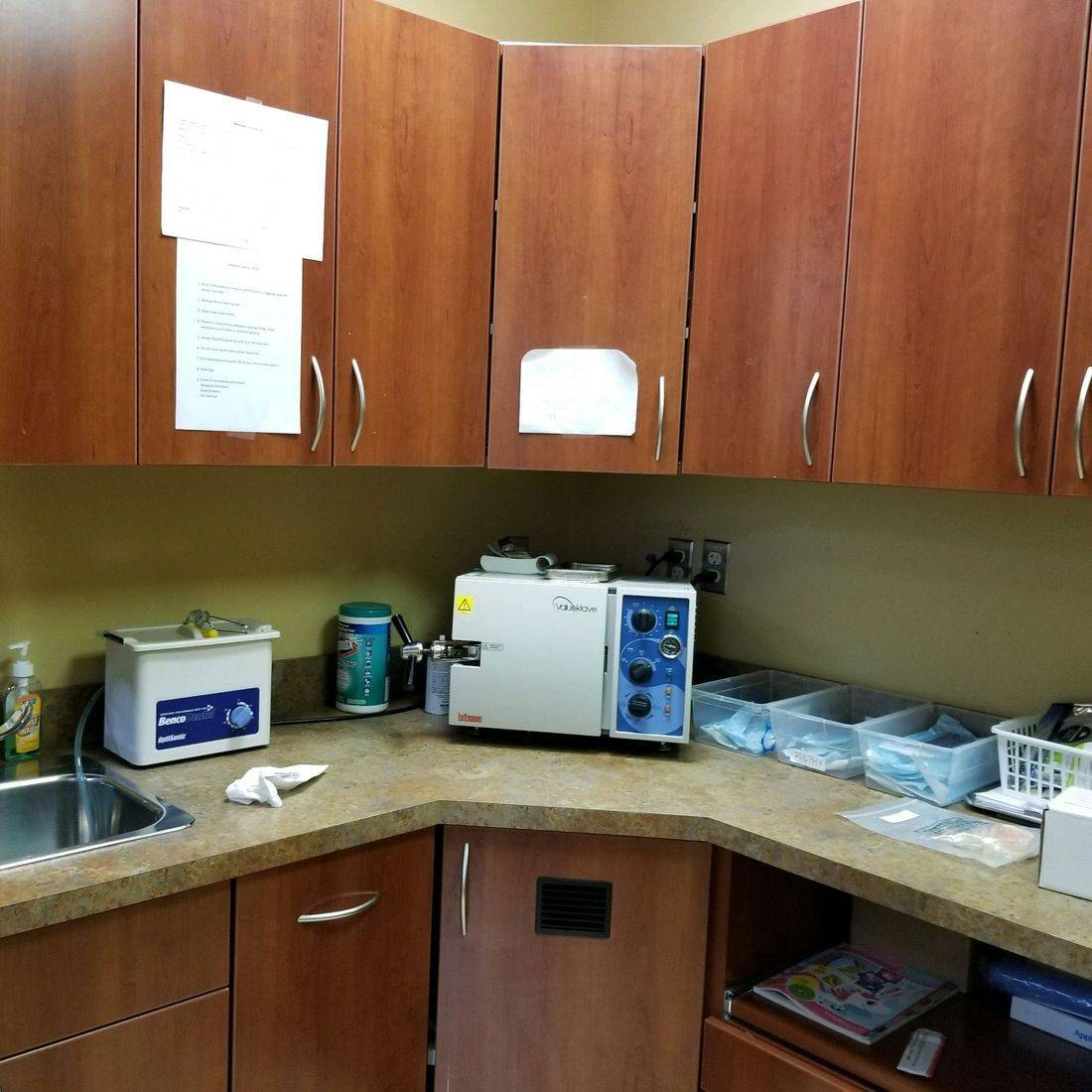 Countertop with dental supplies
