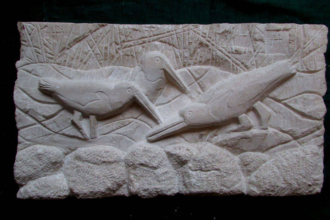 colebrookestoneandclay.com,james,hourigan,stone,carving,relief,portland,bird,oyster,catchers,oystercatchers,rocks,sea