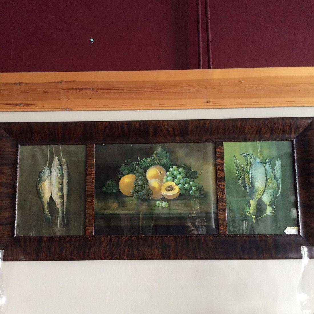 Antique Victorian Triple Panel Litho Prints, Fish-Fruit-Fowl in Burl Walnut Frame   $150.00