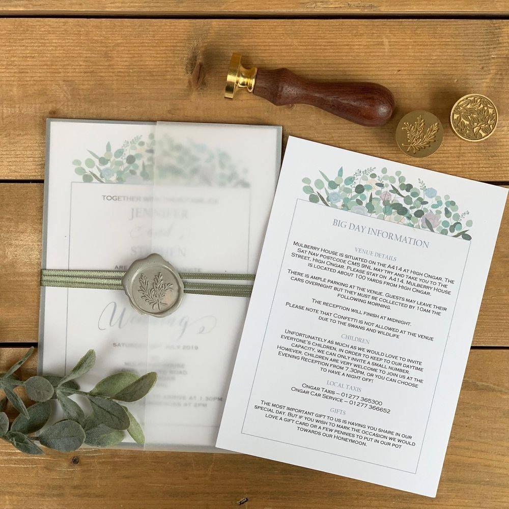 Wax Sealed Wedding Invite cool blues/lilac