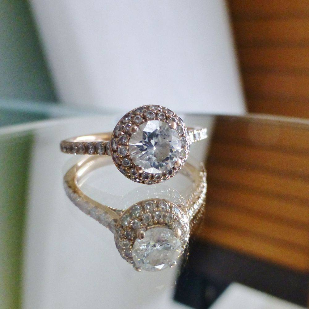 Round Cut Diamond solitaire Double Dome Halo Engagement Ring in 14K Rose Gold