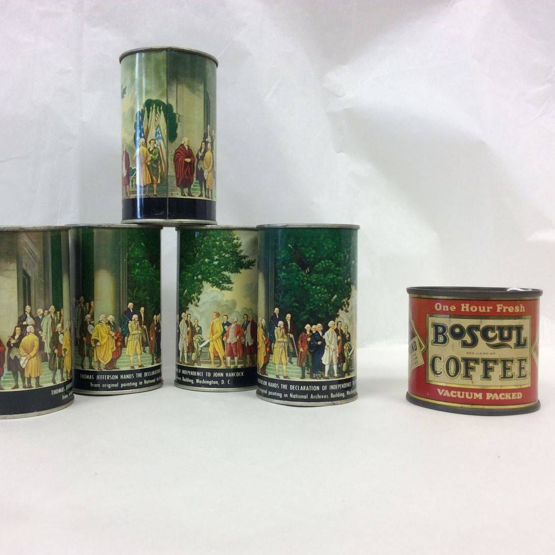 Vin. Canco- Declaration of Independence Tin Can Banks  $6.00 ea.  (Sorry!  Boscul Coffee Can Bank 'Sold').
