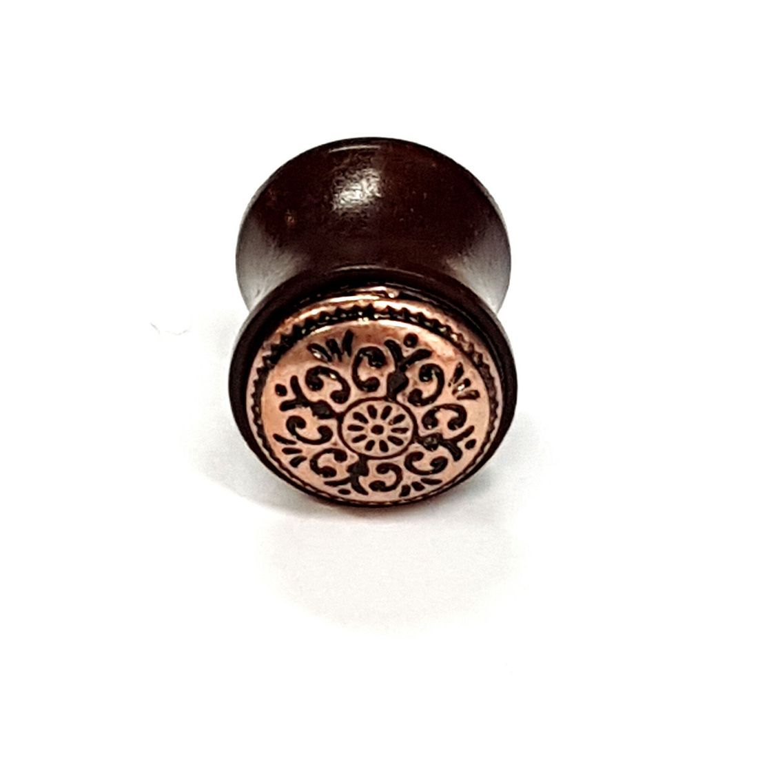 16mm Rose Gold Mandala Teak Wood Plug