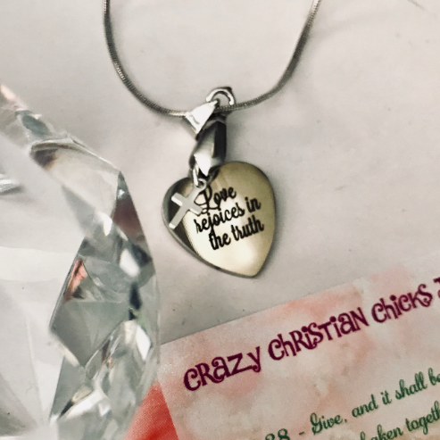 Love Rejoices in the Truth with 925 Sterling Silver Cross with SSteel Necklace