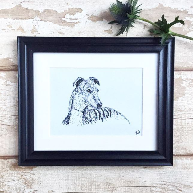 Pen & ink sketches of different dog breeds, framed/unframed