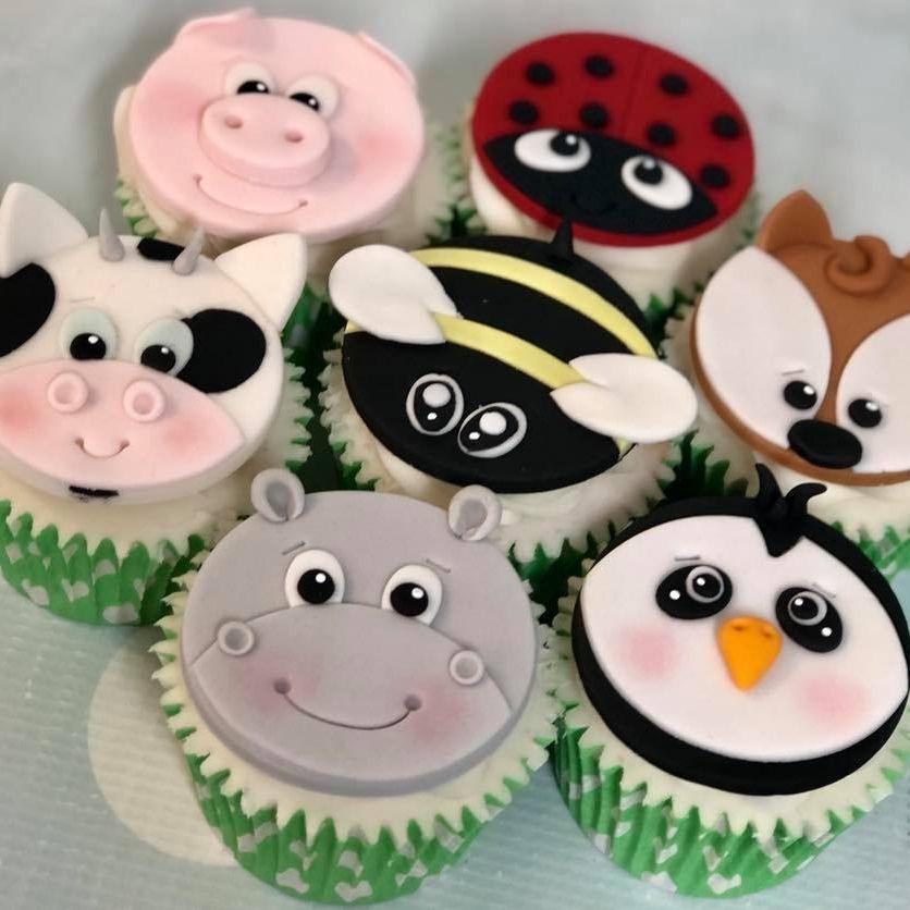 Animal Face Cupcakes Hippo Cow Bee Pig Ladybug Ladybird Fox Penguin