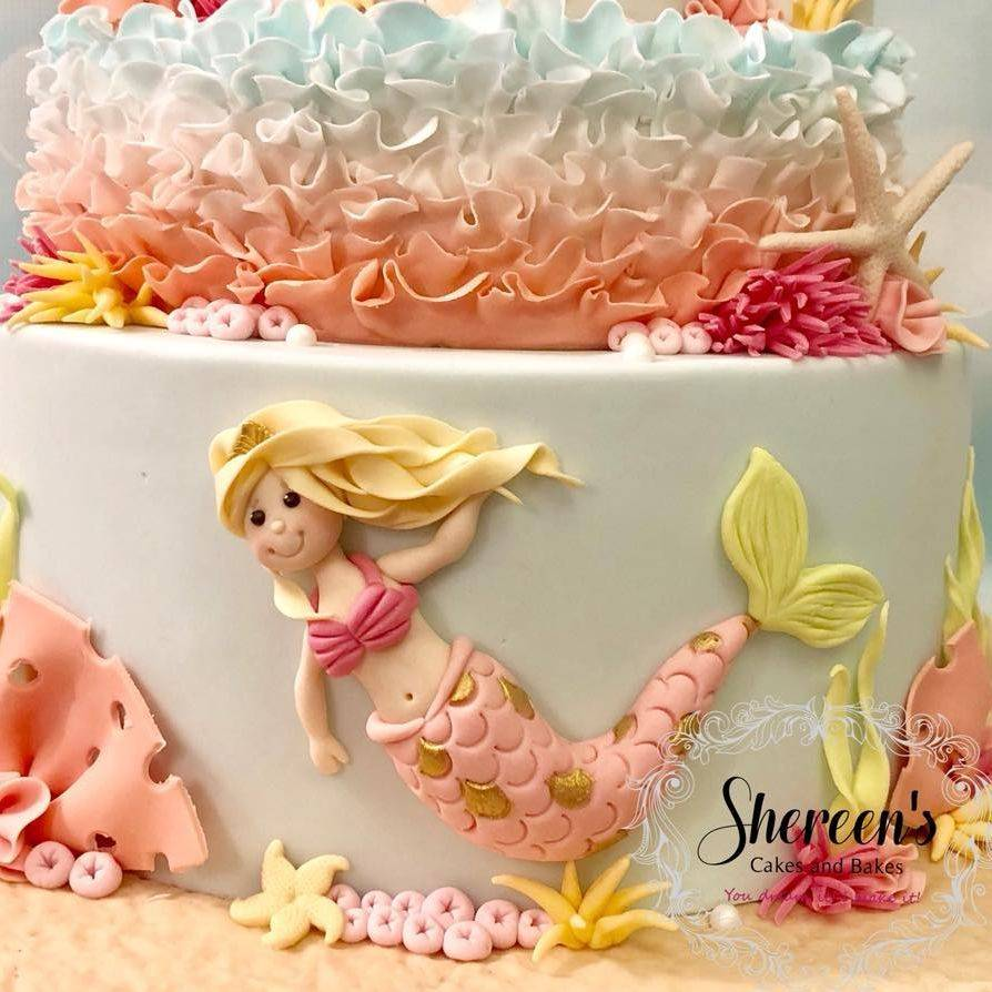 Princess Mermaid Under the Sea Castle Cake Coral Shells