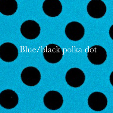 blue/black polka dot spandex