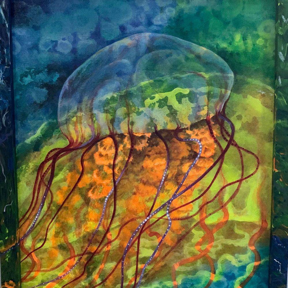 NCooper - Funny Jellyfish - Acrylics - 11x14 - $125