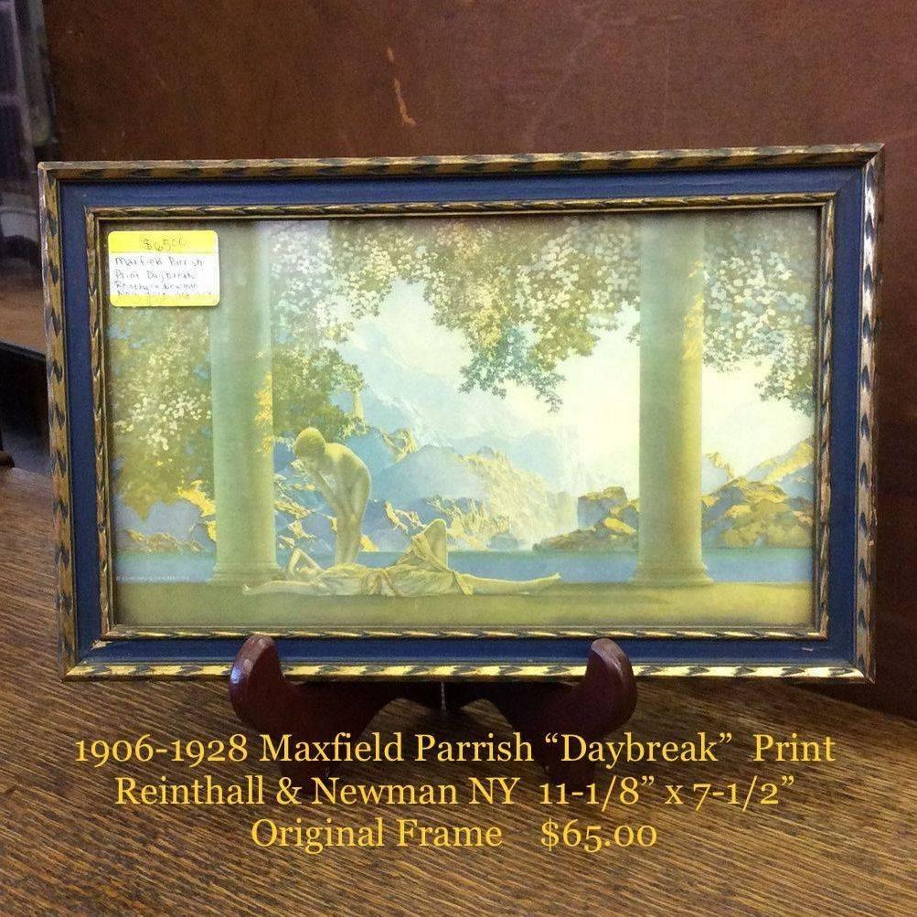 """1906-1928 Maxfield Parrish Print  """"Daybreak"""" Reinthall & Newman N.Y.  11-1/8"""" x 7-1/2"""" Original Frame   $65.00"""