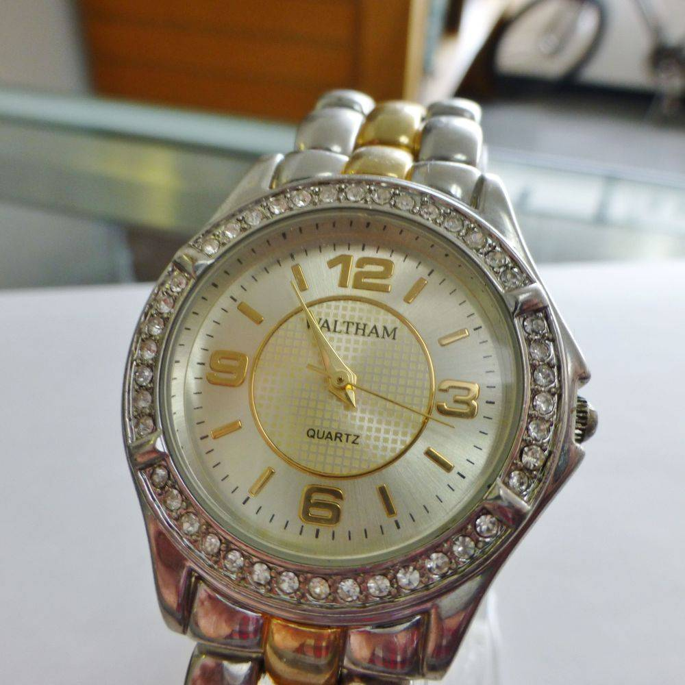 two tone stainless steal diamond bezel ladies Waltham watch