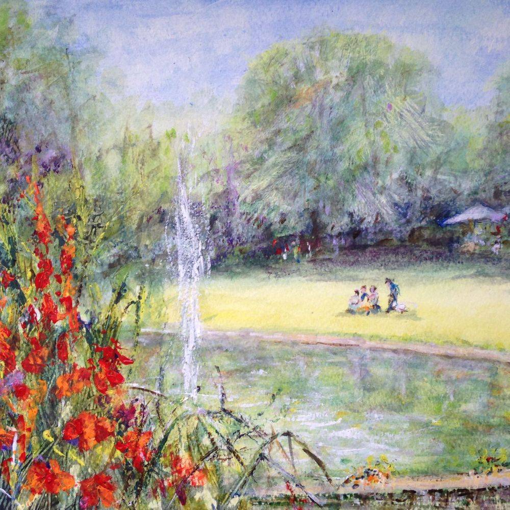 Pinner Memorial Park London, acrylic painting by Marcia Kuperberg