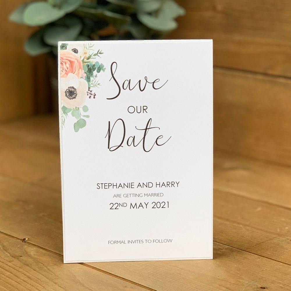 Save the Date card in White, Eucalyptus and Pink