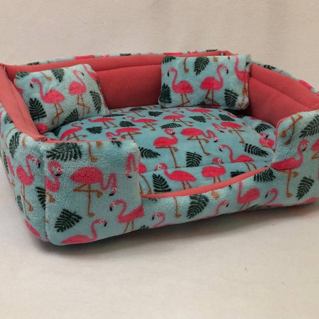 Sofa Bed in Mint Flamingo & Strawberry pink