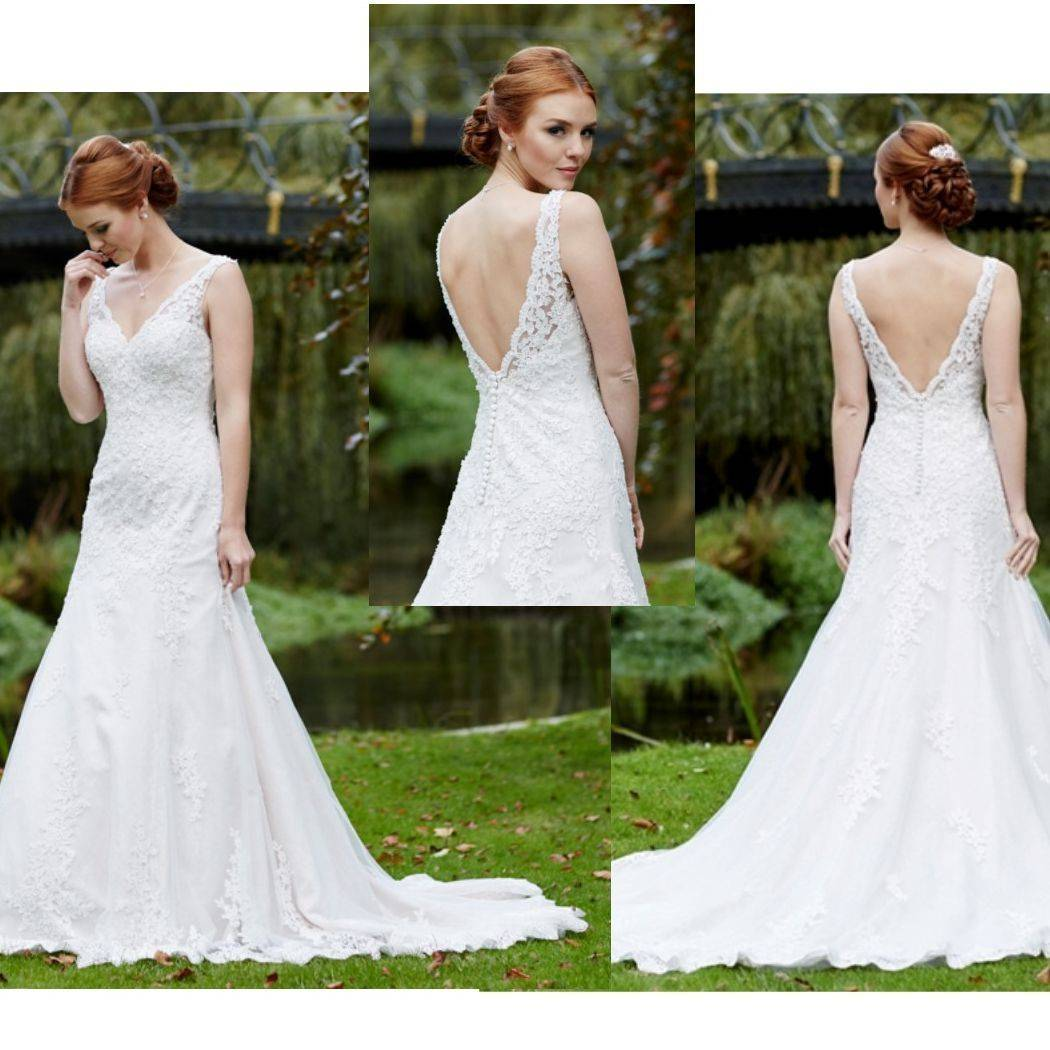 Straps, beaded bodice, A line, low back