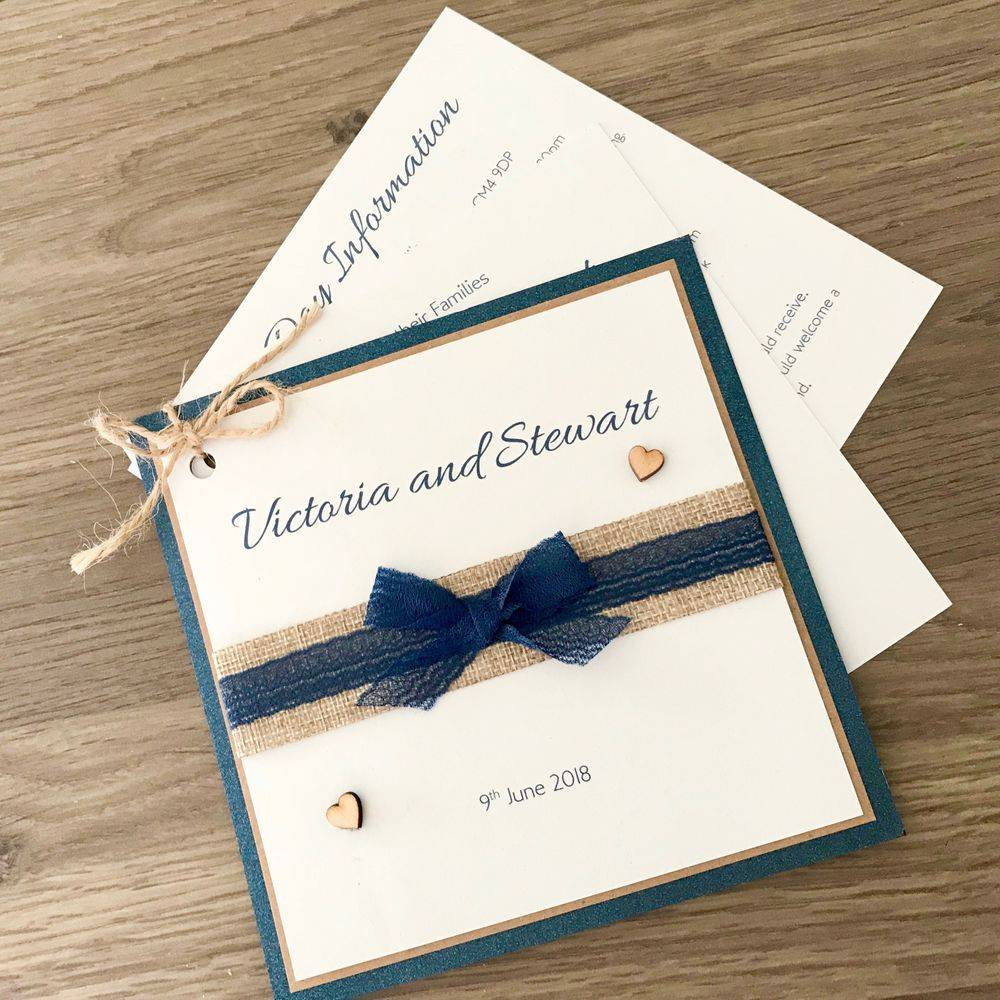 Rustic Wedding Invitation with burlap, lace and wooden hearts