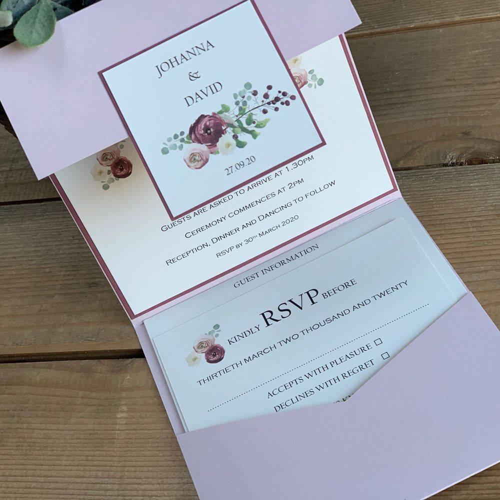 White glitter wedding invitation