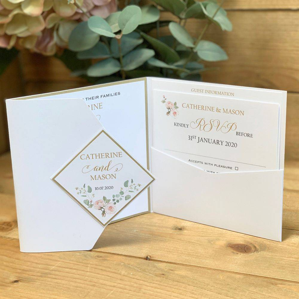 Pocket Invitation in white with pale pink and sage green