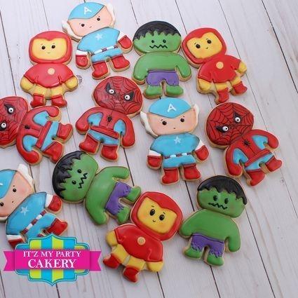 Super Hero Cookies, Spiderman cookies, Hulk Cookies, Iron Man cookies, Captain American Cookies, Superman Cookies, Wonder woman Cookies, Batman Cookies, Batgirl Cookies, Super girl Cookies, Itz My Party Cakery