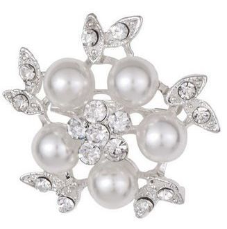 Pearl and rhinestone pin