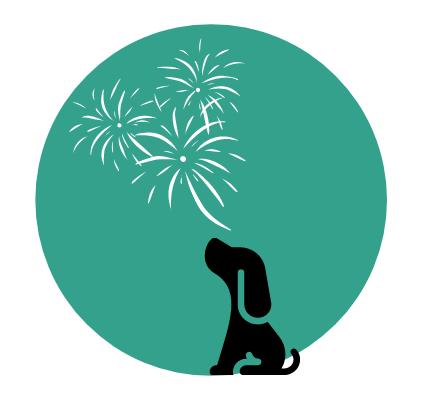 Dog graphic sitting under fireworks