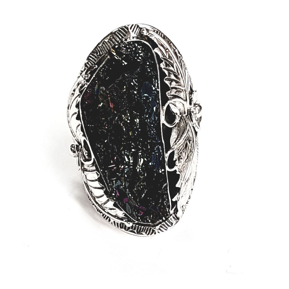 Solid Silver Druzy ring available at Kazbah online and our Leicester city centre shop