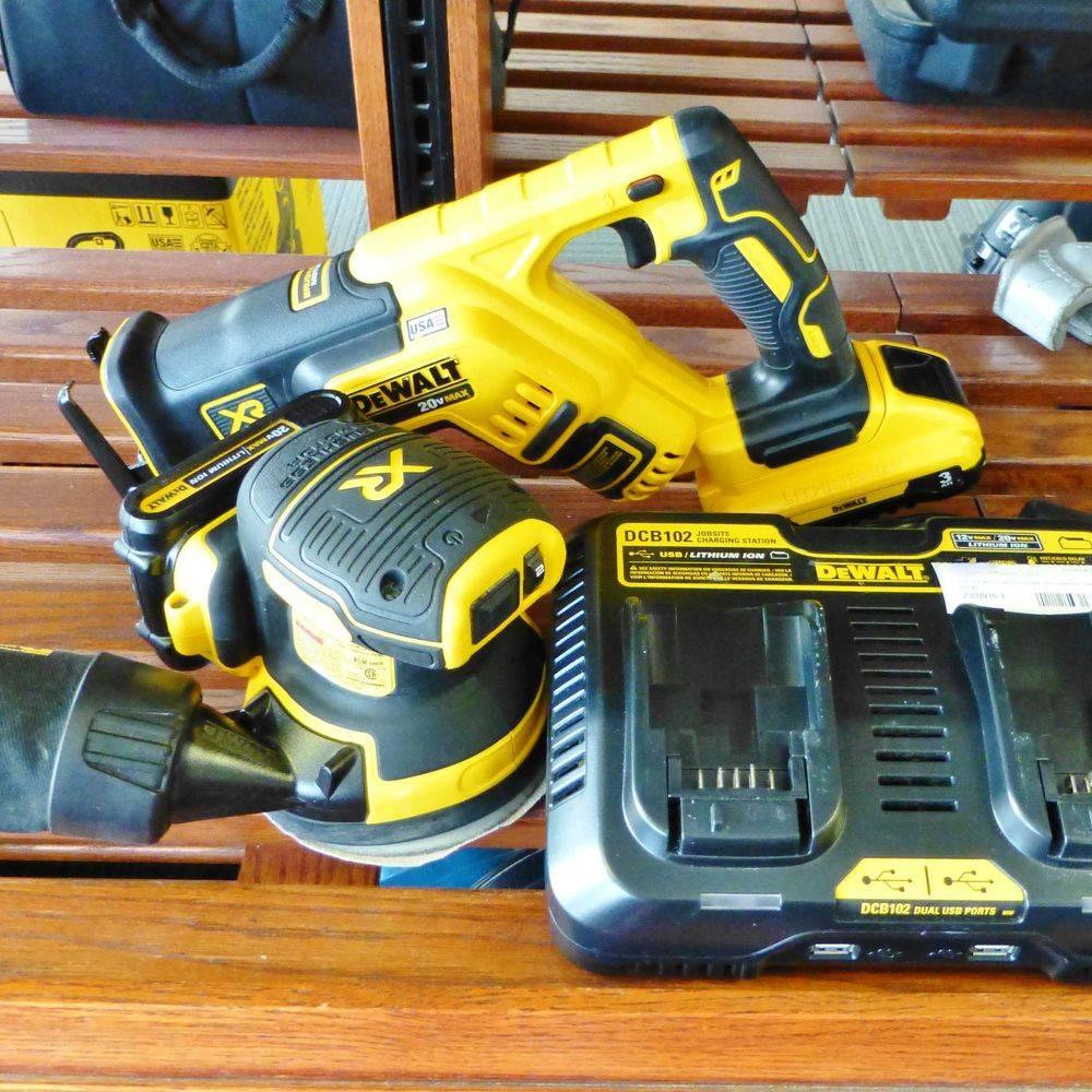 black and yellow DeWalt two piece tool kit on a shelf