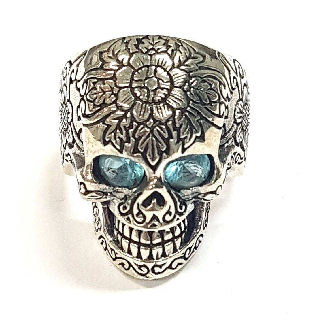 Blue Crystal Skull Ring size O available at Kazbah online and our Leicester City Centre shop