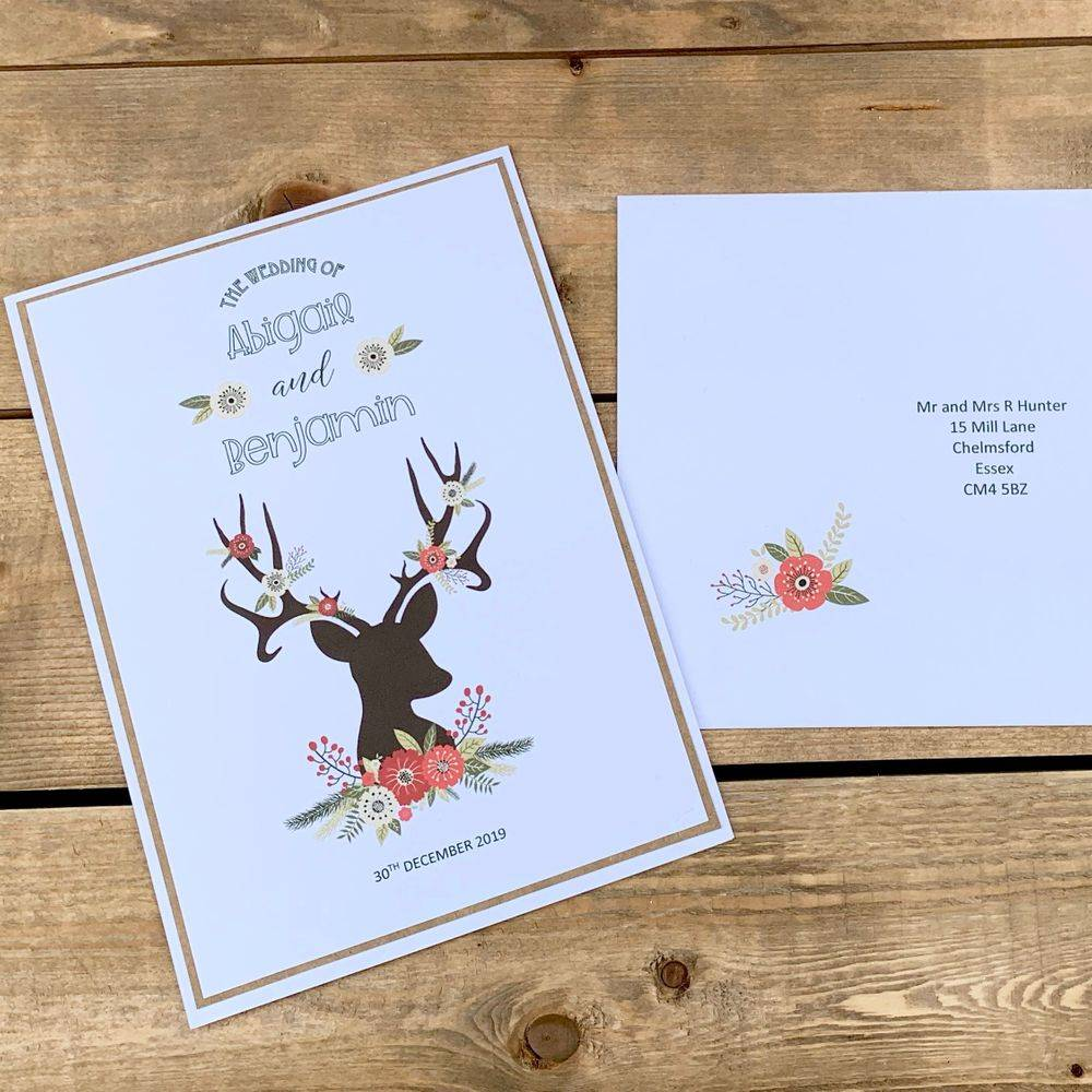 Christmas rustic wedding invitation, Stag