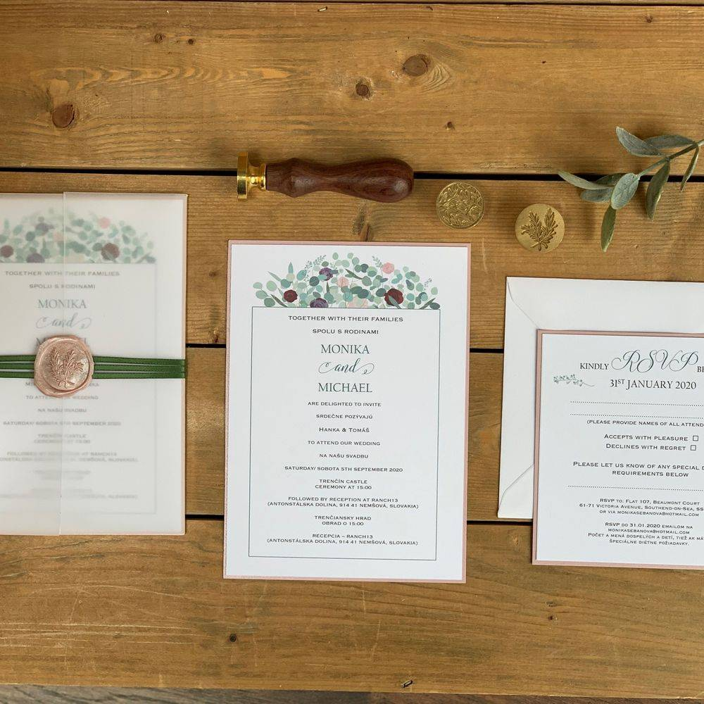Wax Seal Wedding Invitation - White with Lilacs, Purple and Sage Greens