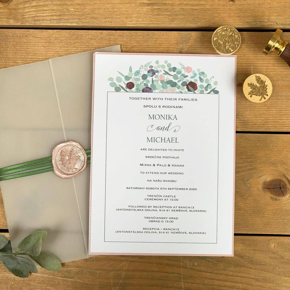 pale pink and Eucalyptus, Sage Wax Sealed Invitation
