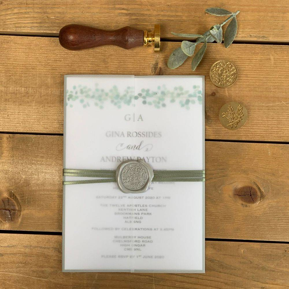 Eucalyptus wedding Inviation with wax seal