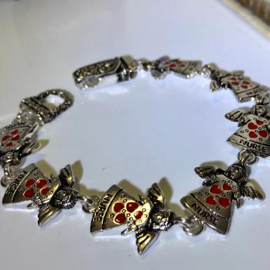 Red Heart Angel bracelet, angel heart silver bracelet, nurse bracelet