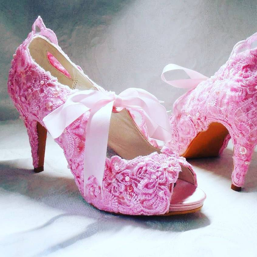 pink satin and ivory lace wedding shoes peep toe nicky rox