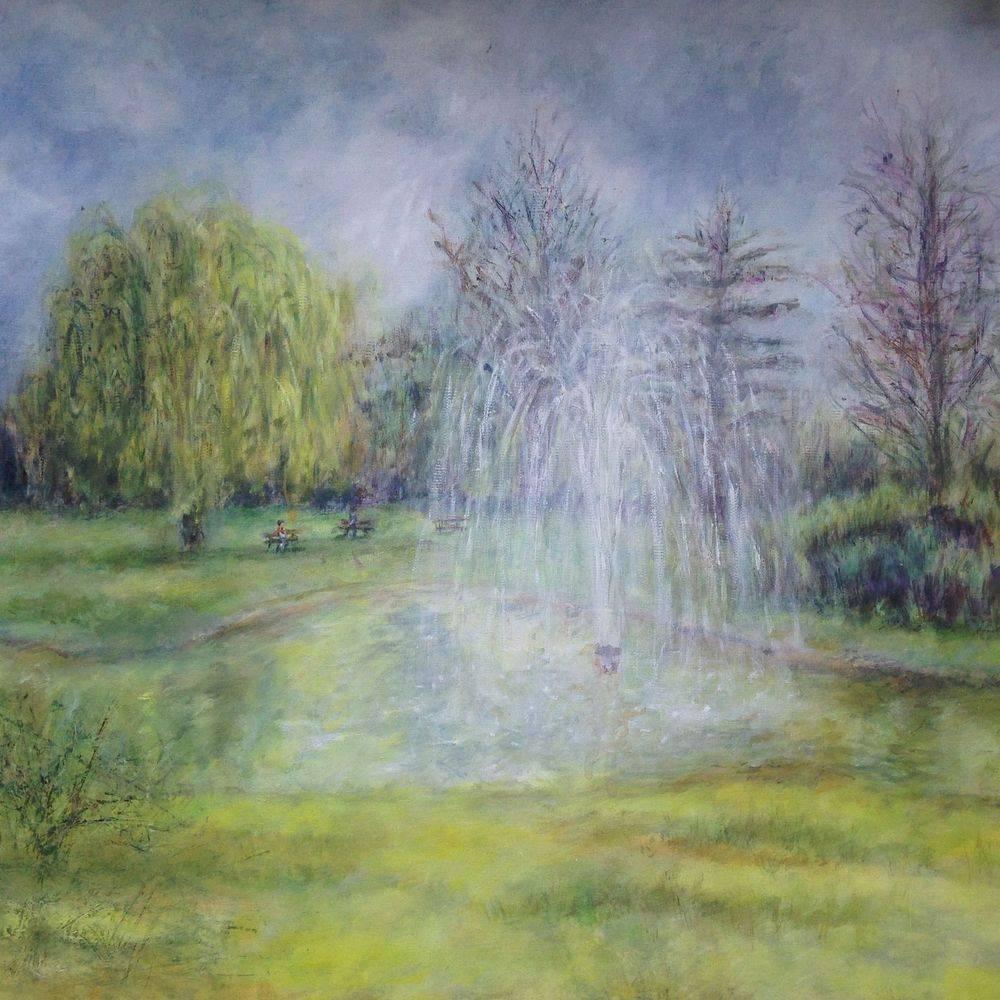 Pinner Memorial Park fountain, London. Oil painting by Marcia Kuperberg