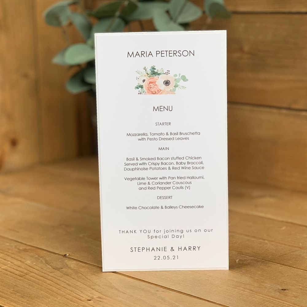 White, Eucalyptus and Blush Pink Menu card with guest name