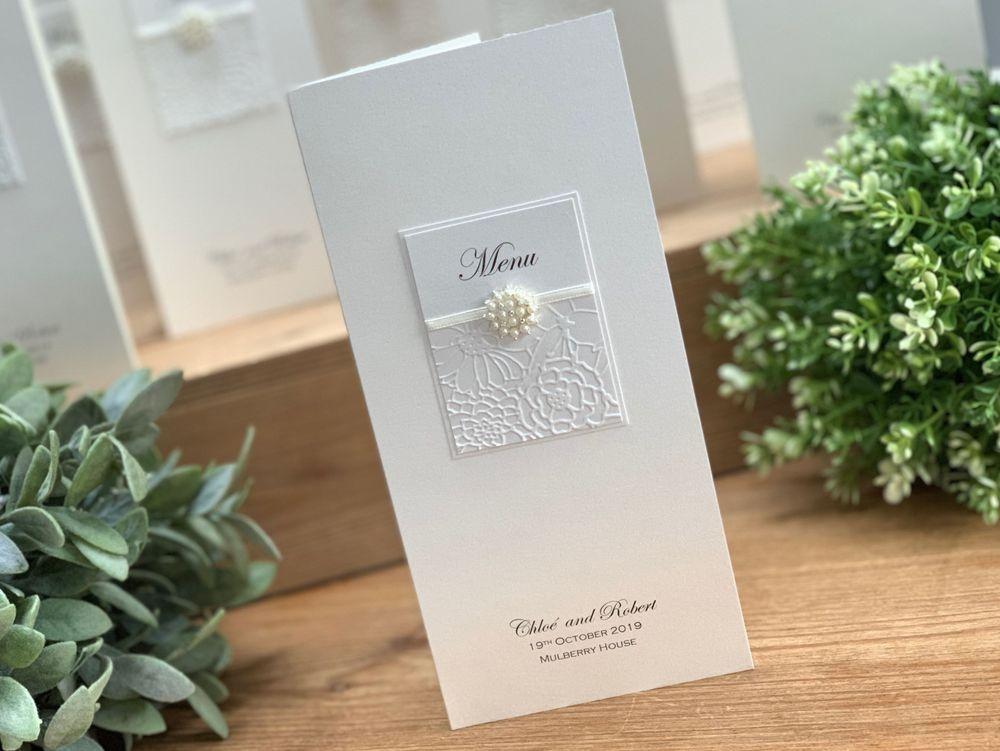 Luxury Ivory wedding menu card