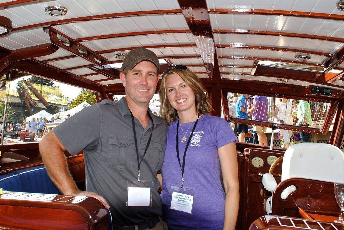 Lars Bergersen and Olivia Bergersen at Wood boat show