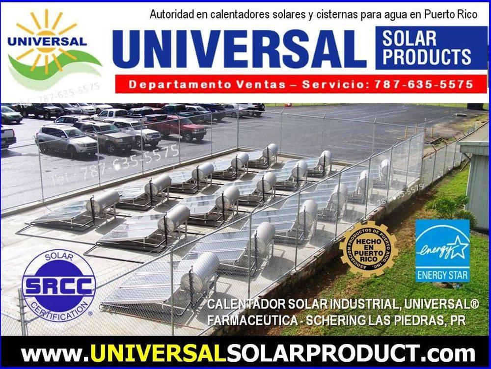 Modelo de calentador solar instalado en el terreno de la farmaceutica Merck Sharp & Dohme en Puerto Rico