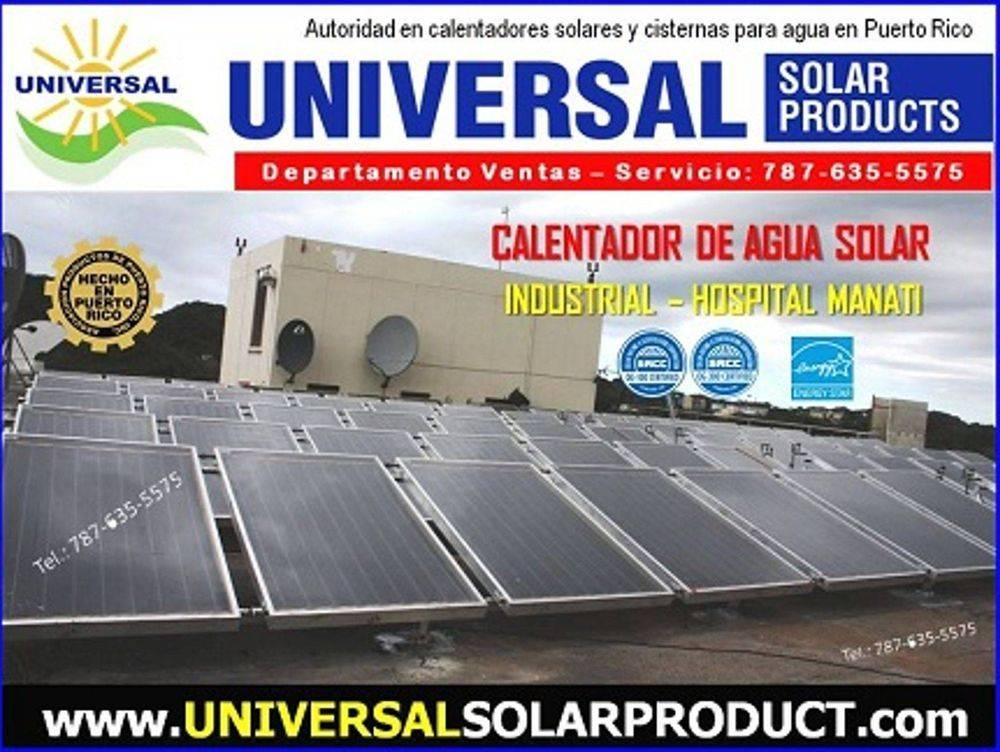 Modelo de calentador solar industrial instalado en el techo de un hospital en Puerto Rico