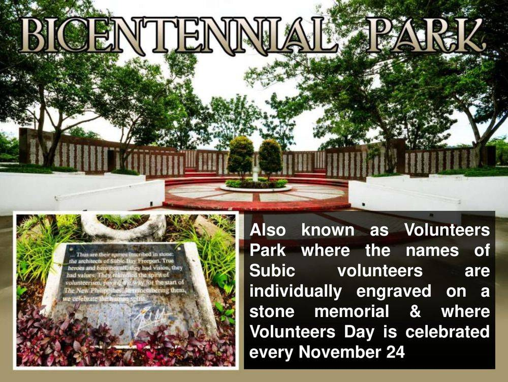 bicentennial park or volunteers' park, subic bay metropolitan authority flagpole, subic volunteers monument, children of the sun returning, inang laya subic, san roque chapel, spanish gate: a remnant of the spanish naval station, sun sea sand at subic, bird-watching: a must-try at subic bay, triboa mangrove park, pamulaklakin forest trails , magaul bird park at jest camp , jest camp adventure and bird park , discover the aetas' indigenous culture , british & far east traders & partners, subic bay freeport zone philippines, invest in the philippines, holy land subic sanctuary and theme park, ocean adventure- southeast asia's only open water marine park, treetop adventure: the world's first motorized canopy tour, zoobic safari, funtastic park subic bay, subic bay ecotourism, apaliin forest trails