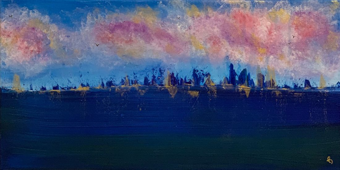 sunset seagulls cityscape seascape original abstract acrylic canvas painting