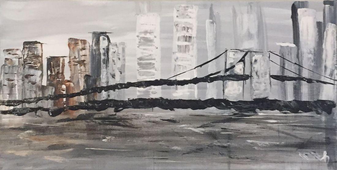 bridge cityscape seascape original abstract acrylic canvas painting