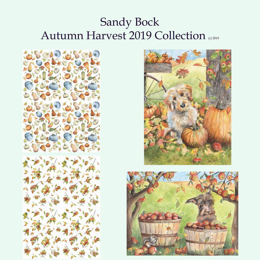art collection, artist, apples, illustrator, autumn, fall, pumpkins, dogs, gourds, country, farm, watercolor,  country art