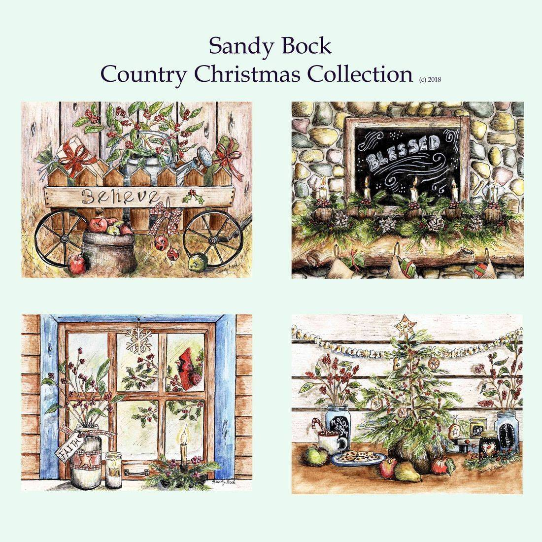 art collection, artist, holidays, illustrator, christmas, country, farm, watercolor,  country art