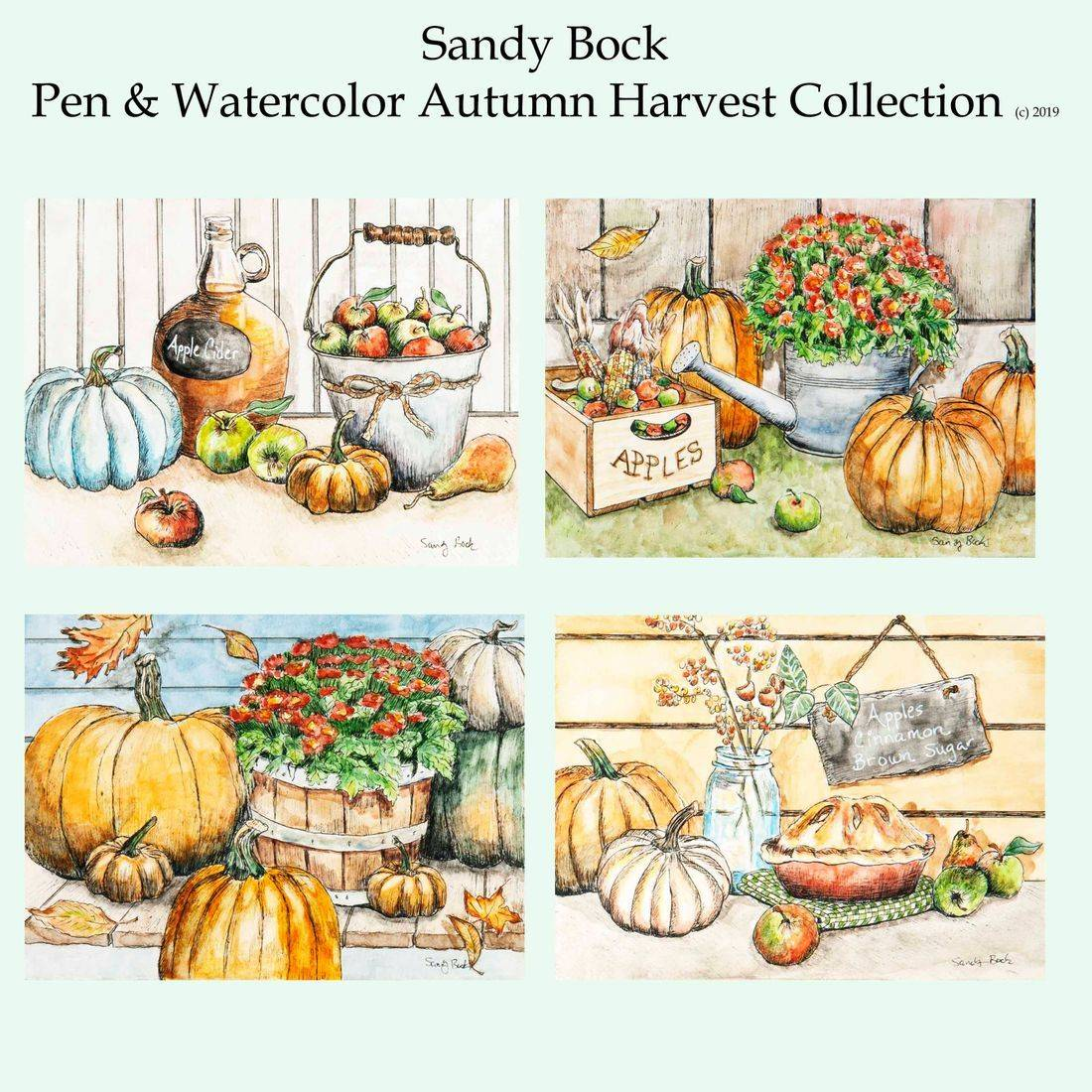 art collection, artist, autumn, illustrator, pumpkins, apples, fall, country, farm, watercolor,  country art
