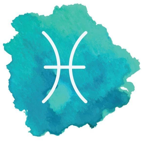 Image: watercolor Pisces symbol